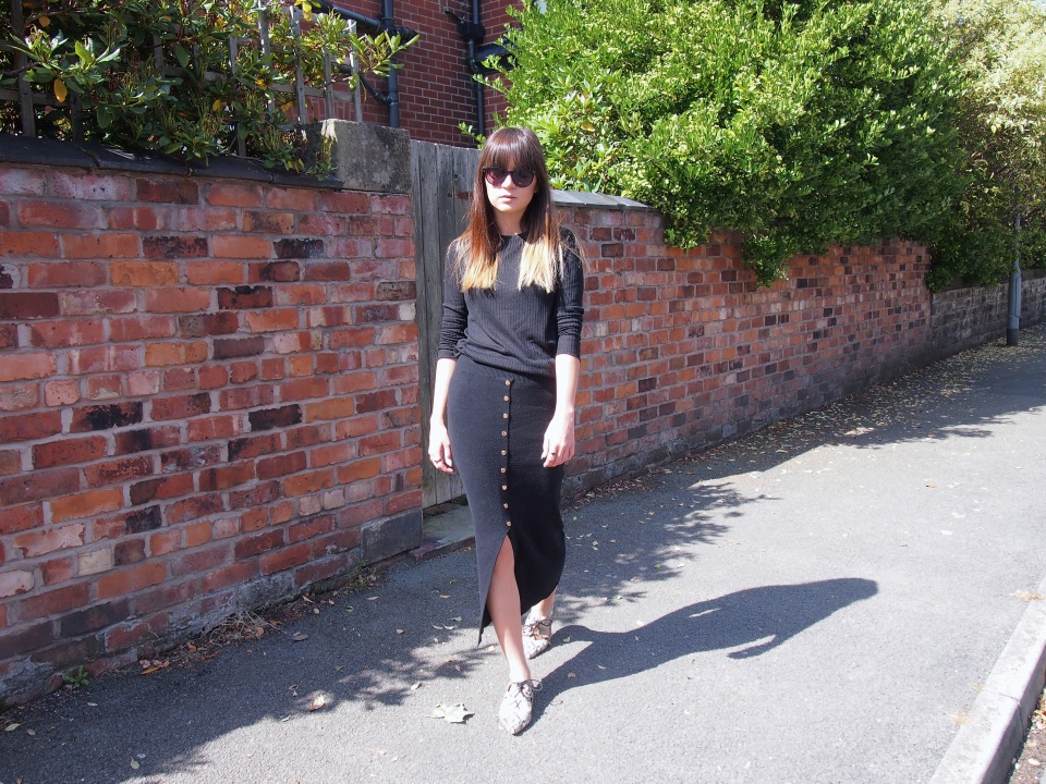 Black knitted button front skirt from Primark